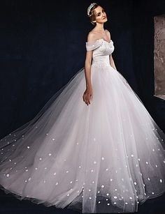 Ball Gown Wedding Dress Sweep / Brush Train Off-the-shoulder Tulle 3430834 2017 – $179.99