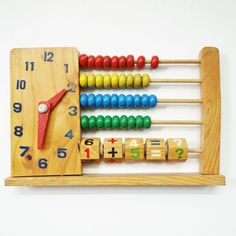 Vintage Abacus with clock, Learning toy, Telling time, Retro vintage, Primary colors, Wooden toy, Homeschooling, Vintage nursery decor