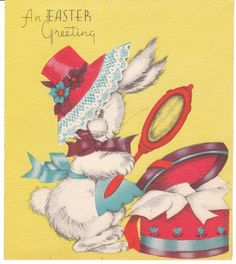 Vintage Easter card - bunny rabbit tries on a new Easter bonnet.