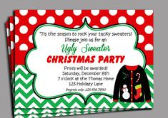 Christmas Ugly Sweater Party Invitation by ThatPartyChick on Etsy, $15.00