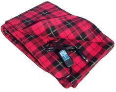 Heated Fleece Travel Electric Blanket - 12 Volt - Red Pla By Trillium Worldwide