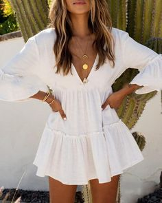 Greek Style Cotton Tunics for Beach Women Swimsuit Cover up Swimwear Cover up Be. Greek Style Cotton Tunics for Beach Women Swimsuit Cover up Swimwear Cover up Beachwear Pareo Beach Dress Saida de Praia Cute Summer Outfits, Spring Outfits, White Summer Dresses, Beach Outfits, Cancun Outfits, Summer Outfits Women 20s, White Homecoming Dresses, Cute Dress Outfits, Hawaii Outfits