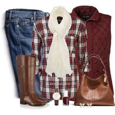 Autumn/ winter casual in maroon - Stay cozy in this Gerry Weber fitted vest, denim skinnies, plaid shirt, neck scarve, and brown leather accessories. <> (maroon, burgundy, color, clothes, apparel)