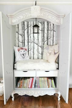 Armoire repurposed into child's reading nook