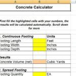 Download Free Concrete Calculator Sheet For Solid Construction