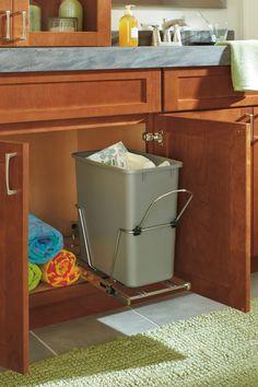 Photo On Adding a wastebasket cabinet under the sink like our Vanity Sink Base Cabinet with Wastebasket