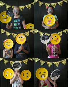 Emoji Birthday Party with an emoji-themed photo booth. Backyard Party Games, Backyard Birthday Parties, Birthday Party Games, 8th Birthday, Birthday Ideas, Sleepover Party, Emoji Theme Party, Party Themes, Party Ideas