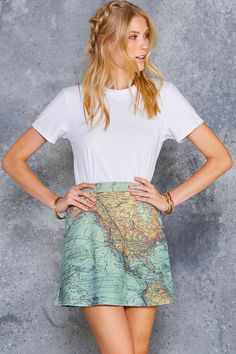 Destinations A-Line Skirt - 7 DAY UNLIMITED ($60AUD) by BlackMilk Clothing