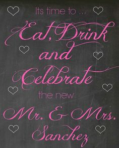 Chalkboard Style Wedding Reception Sign. #johnmarriesbrina #weddingdetails