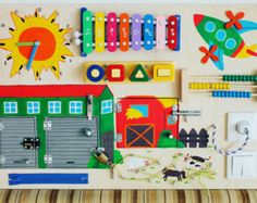 Wooden eco friendly busy board for toddler Kids by LinearaHandMade