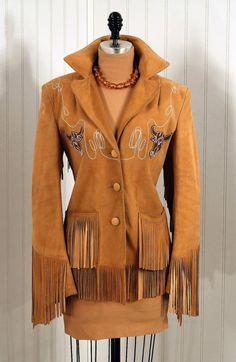 Fringed, embroidered western suede jacket, c. 1940