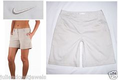 """Bidding starts at $1.99 (or buy it now for $7.99)     NEW Women's Nike Golf Tech Shorts, High  Performance Technology Fabric. Color: """"Birch (light khaki-ivory), Women's Size: 4 USES: Golf Hike Casual Everyday Athletc Active"""