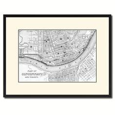 Cincinnati Vintage B&W Map Canvas Print, Picture Frame Home Decor Wall Art Gift Ideas