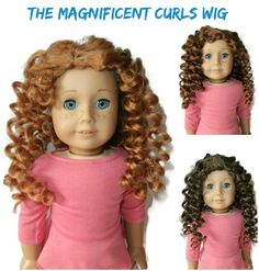 Our Magnificent Curls girl doll wig for American Girl Dolls. Can be glued for a side or center part.