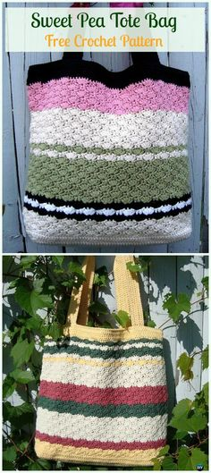 Sweet Pea Tote Bag Free Crochet Pattern - #Crochet #Handbag Free Patterns
