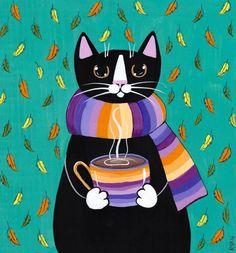 Autumn Coffee Cat Original Folk Art Painting by KilkennycatArt (Ryan Conners)