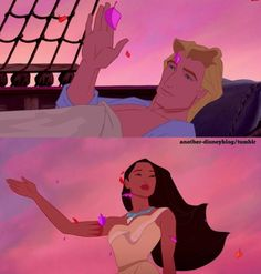 Pocahontas and John Smith. ❤ Whoever made Pocahontas 2 is evil. Thought if u when it talked about Pocahontas 2 Disney Pocahontas, Disney Pixar, Disney Couples, Disney And Dreamworks, Disney Animation, Disney Characters, Disney Princesses, Disney Films, Walt Disney
