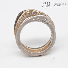 ELISABETH HABIG   INDIVIDUELLE EHERINGE   VERLOBUNGSRINGE   SCHMUCKDESIGN   ZEITGENÖSSISCHER SCHMUCK   WIEN Bangles, Bracelets, Stacking Rings, Jewelry, Black Diamond, Contemporary Jewellery, Jewellery Designs, Silver, Jewlery