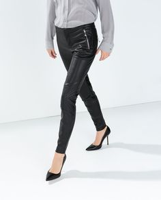 Image 1 of FAUX LEATHER KNEE PATCH TROUSERS from Zara