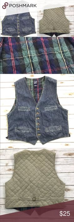 "Vintage 90's GAP Vest Flannel Lined Denim Excellent PreOwned Condition   Underarm to underarm 21.5"" Length 25""  Measurements are approximate   Check out my other items! GAP Jackets & Coats Vests"