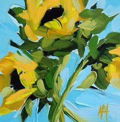 sunflowers on blue painting