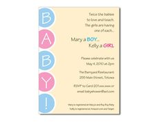 Twice as Nice Baby Shower Invitations. Joint or Twin Baby Shower