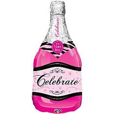 39 Pink Champagne Bottle Supershape Foil Balloon each Suitable for helium inflation only please see our range of disposable canisters Space on the