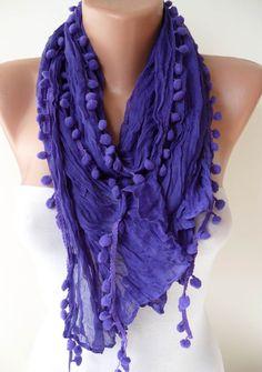 Purple Cotton Scarf with Pompom Trim $12.90