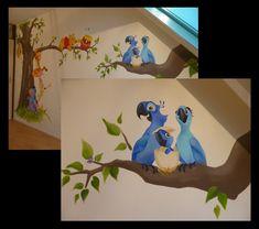 rio muurschildering papegaaien