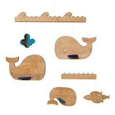 Petit Collage | Whale Mobile Deluxe Laser-cut Bamboo Mobile