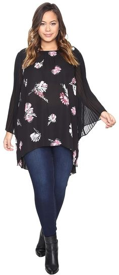 Plus Size Floral Pleated Sleeve Blouse