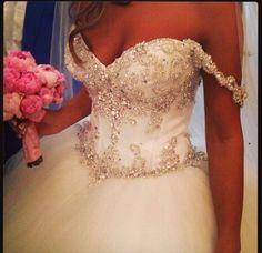 White and Gold Wedding. Sweetheart Corset Ballgown Dress. Fiore Couture Australia