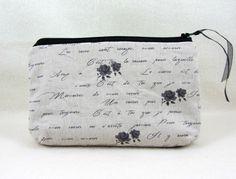 Linen zipper pouch, floral linen case, womens zipper pouch, cosmetic case, bag accessory, french linen case by JRsbags on Etsy