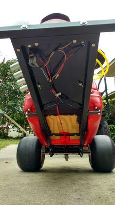 Wiring for lights, plyboard for floor. Bike Wagon, Wagon Cars, Kids Go Cart, Cars Junior, Homemade Go Kart, Go Kart Plans, Radio Flyer Wagons, Diy Go Kart, Drift Trike