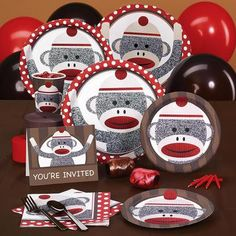 Celebrate your little monkey's birthday with this Sock Monkey Red Standard Pack for 8! The pack for 8 includes: 8 invitations, dinner plates, dessert plates, cups, forks, spoons, 16 napkins, solid-col