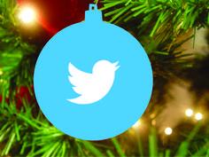 Kerstbal blauw, bedrukt met Twitter logo