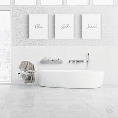 Printable Bathroom Signs, Relax Soak Unwind, Bathroom Art Prints, Set of 3 Print. Laundry Room Art, Laundry Room Signs, Bathroom Art, Bathroom Signs, Small Bathroom, Quirky Homeware, Rustic Bathrooms, Bathroom Hardware, Inspirational Wall Art