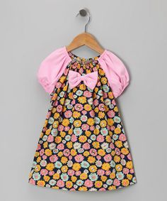 Take a look at this Black & Pink Daisy Bow Tie Dress - Toddler & Girls by Lele Vintage on #zulily today!