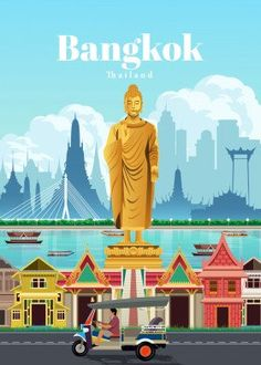 Traveltastic Travel poster prints by Studio 324 Bangkok Travel, Bangkok Thailand, Laos Travel, Vintage Travel Posters, Vintage Ski, Poster Making, New Artists, Cool Artwork, Graphic
