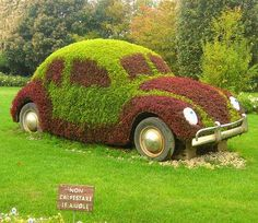 "old VW? Check out my gardens board to find out how to get moss to grow on anything. this is a cool idea. If hubby doesn't clean up his  outdoor ""toy Box"" soon, it might end up looking like this sooner!"