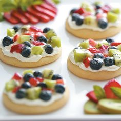 """Sugar Cookie Fruit Pizzas Recipe -Purchased sugar cookies make a sweet """"crust"""" for these colorful fruit pizzas. Make them throughout the year with a variety of fresh and canned fruits. —Marge Hodel, Roanoke, Illinois"""