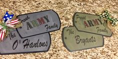 Proud Army Family Front Door sign Wooden Door Signs, Wooden Welcome Signs, Front Door Signs, Wooden Tags, Wooden Door Hangers, Wooden Doors, Wood Signs, Army Crafts, Military Crafts