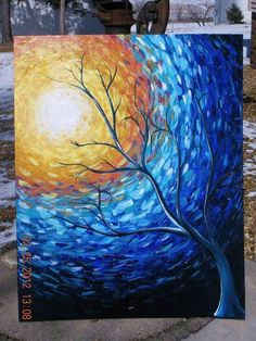 Cool tree silhouette painting with impressionist style painting strokes swirled around sun.