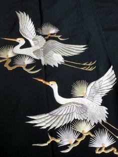 Japanese Kimono Cheamical Fiber Black Tomesode Embroidered Crane P101526   eBay