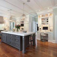 "Read More"" Kitchen,: Excellent U Shape Kitchen Decoration With Solid Wood Kitchen Floor Along With Rectangular Grey Solid Wood Kitchen Islands And White Ki"