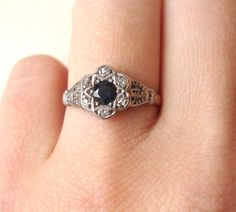 Antique Diamond and Sapphire Flower Engagement Ring by luxedeluxe