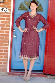 VTG 80s Maroon Beaded Indian Sari Dress by SpeaksVolumesVintage