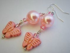 Pretty in Pink! Pink pearl and butterfly earrings - Bridesmaid gift, Mother's Day, Valentine's Day, Anniversary, Birthday, boho chic, ooak by IpanemaGirlShop on Etsy