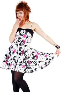 A summer dress covered in pandas XD Emo Dresses, Cute Dresses, Beautiful Dresses, Fashion Dresses, Summer Dresses, Underground Clothing, Scene Outfits, Plus Size Girls, Dope Fashion