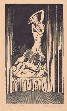 ART-NOUVEAU-NUDE-EROTICA-1926-FAUST-ILLUSTRATIONS-4-ORIGINAL-WOODCUTS-SIGNED